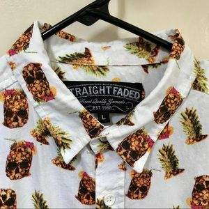 Straight Faded Pineapple Skull Print Button Down